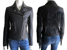 Diesel - Exclusive – leather, fringed biker jacket
