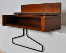 Designer unknown - rosewood shelf / wall mounted coat hanger, with mirror and storage compartment