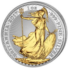 Great Britain - 2 Pounds - Britannia 2017 - 999 Silver with 24 karat gold plating