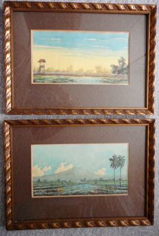 2 water colours signed 'rice fields' - Indonesia