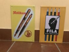2 metal advertising signs for Pelikan and Fila from the 1990s