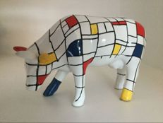 CowParade - Moondrian - medium - ceramic, in box with tag.