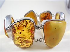 silver 925 - Ladies bracelet with amber - No Reserve