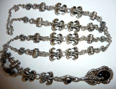 Long, heavy Y-chain with royal irises and onyx trim 925 silver