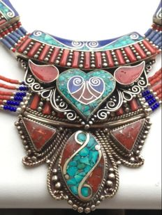 Two necklaces (Tibetan style) - turquoise + coral paste