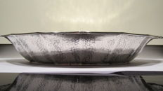 Hammered silver bread tray, 20th century
