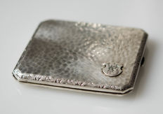 Silver cigarette box with signature