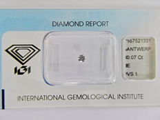 0.07 ct brilliant cut diamond, E/VS1 ***No minimum price***