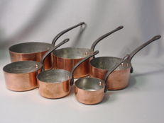 Pan set - 6 copper pans -
