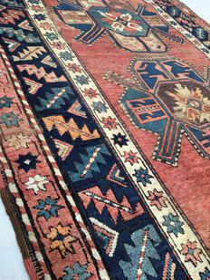 Handmade Oriental carpet: Antique Kazakh from Russia, 240 x 130 cm, circa 1900!!!