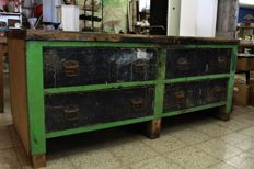 Very heavy industrial workbench, with the original paint.