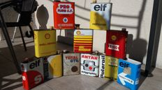 Lot of 11vintage  oil cans  - Antar / Elf / Total / Polaroil / Shell