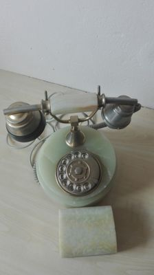 Vintage Onyx Telephone  and  Casket of onyx -Great Britain