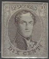 OBP no. 10, Leopold I, elliptical medallion, 10 c, brown, without watermark, with hinge