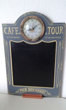 Wooden advertising clock for 'Café de la Tour' - with noteboard - 2nd half of the 20th century