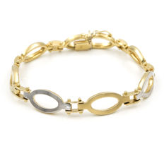18 kt yellow gold - 18 kt white gold - two-tone link bracelet with dual safety clasp - length 20.50cm.