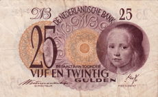 The Netherlands - 25 Guilders 1945 Girl in blue - mevius 80-1b