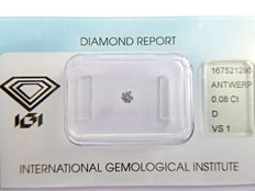 0.08 ct brilliant cut diamond, D VS1