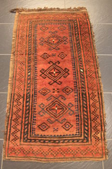 Beautiful Afghan Art Deco salt-bag oriental carpet, wool on wool, made in Afghanistan, 65 x 120 cm