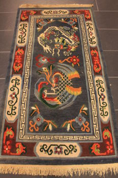 Antique hand-knotted Chinese dragon carpet, Art Deco, old rug, 90 x 170 cm