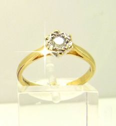 "Vintage gold ""star solitaire"" ring set with 0.10ct of Diamond"