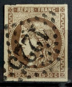 "France 1870 - Yvert 47e - Variety with ""R joined to the frame) of the burgundy brown 30 cents"