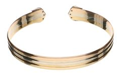 14 kt gold, tricolour open bracelet set with 10 brilliant cut diamonds, 0.20 ct in total