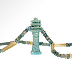 Egyptian Faience, Gold and Djed Pillar Necklace,  43 cm L / Djed Pillar= 2.7 cm L