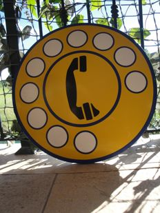 phone metal sign - ca 1980
