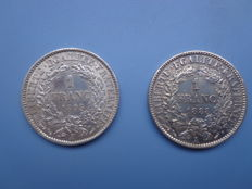 France – 1 Franc 'Ceres' 1888 A and 1895 A (Consignment of 2 coins) – Silver