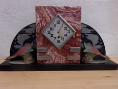 Art Deco partly etched marble mantel clock with 2 zamak geese