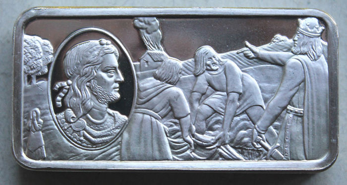 Franklin Mint 1973 - Motif Bars - Harthacanute (King of England 1040-1042) - approx. 70 g sterling silver