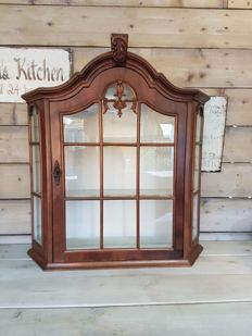 Walnut display case cabinet * early 20th century * The Netherlands