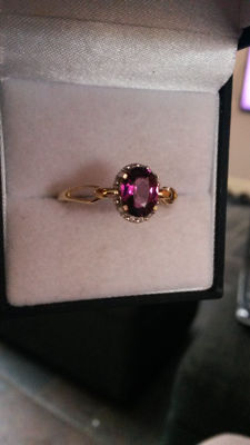 RARE Garnet from one source 1.63cts yellow gold ring LOW RESERVE