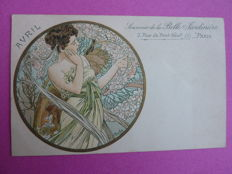 Postcard after Alphonse Mucha - April - 1901