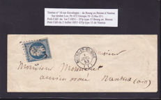 "France 1853 to 1876 - 16 Letters + 3 Envelopes with Stamps no. 10 ""Présidence"" + Bordeaux 45A/45C"