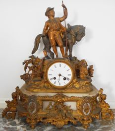 Gold-plated pendulum clock with horse on marble base - Around 1850