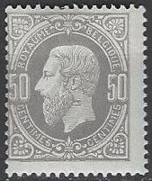 OBP no. 35A, 50 c, Leopold II, print with aniline colour on thin satin paper, perforation 15