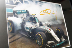Professionally framed image, personally signed by Nico Rosberg