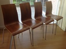Manufacturer, designer – set of four plywood chairs