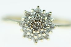 Yellow, 14 kt gold women's ring set with 25 brilliant cut diamonds, ring size 16.