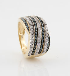 14 kt yellow gold ring with diamonds, 0.90 ct, G-H & blue / VS1-SI2 / ring size 54