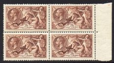 Great Britain King George V 1934 - 2/6d Re-Engraved Seahorse Block of Four MNH Stanley Gibbons 450