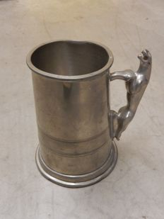 Jaguar - English Pewter Sheffield Made Used Tankard with Jaguar Cars Leaper Cat Handle