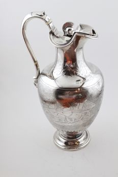 Solid silver claret jug, Joseph and Edward Bradbury, London, 1862