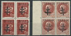 France 1944 - 2 blocks of 4, liberation of Pontarlier, signed by Calves with digital certificate - Mayer No. 1 and 2.