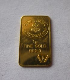 Switzerland - 1 g gold ingot - 1 g of fine gold - Swiss Bank Corporation