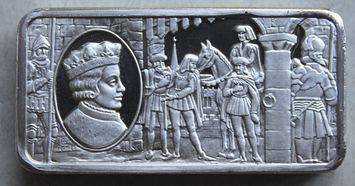 Franklin Mint 1973 - motif bar - Edward V (King of England 1483) - Approx. 70 gr. Sterling silver