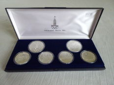 Russia – Cassette with 6 silver rouble coins, Olympic Games, 1977