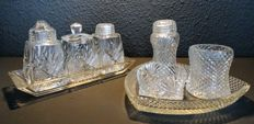 Two diamond and fan cut crystal menage sets